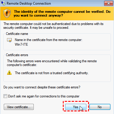 Successfully Established Remote Connection